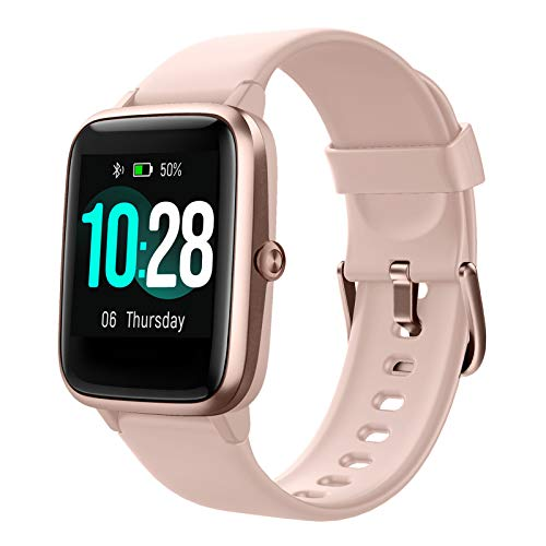 Hafury Smartwatch Tracker Fitness Orologio 1.3 Pollici Display touchscreen Donna Uomo Bambini IP 5ATM Cardiofrequenzimetro da Polso Monitoraggio di calorie per Android iOS Xiaomi Samsung Huawei (Rosa)