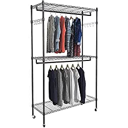Homdox Clothes Rolling Heavy Duty Commercial Grade Garment Rack with Wheels