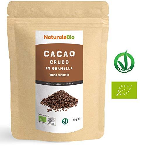Granella di Cacao Crudo Biologico da 1kg. 100% Bio, Naturale e Puro. Prodotto in Perù dalla Pianta Theobroma Cacao. Superfood Ricco di Antiossidanti, Minerali e Vitamine. NATURALEBIO