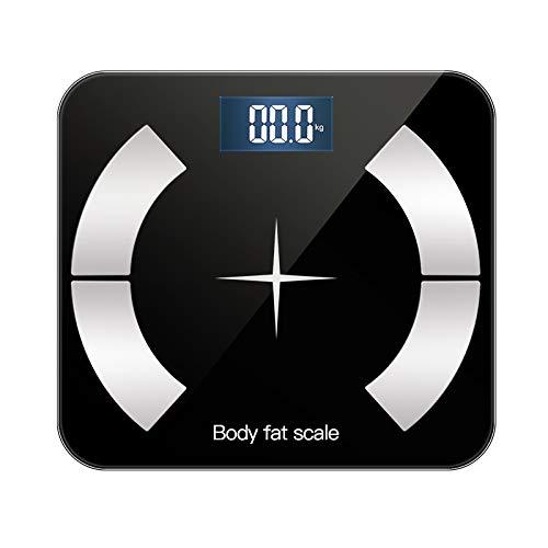 XSWY Smart Elektronische Körpergewichtswaage Bluetooth Bodenwaage Badezimmerwaage LCD-Display Körperfettwaage Digital Körpergewicht Waage BMI Waage, BS4 Mond