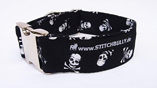 HB109 Hundehalsband mit Totenköpfen Skulls - voll punkig, Metallverschluss verstellbar