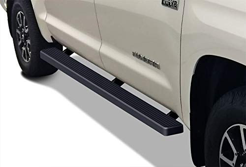 APS iBoard (Black Powder Coated 4 inches) Running Boards Nerf Bars Side Steps Step Rails Compatible with Toyota Tundra 2007-2021 CrewMax