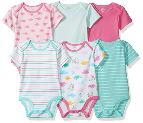 Amazon Essentials 6-Pack Short-Sleeve Bodysuit Infant-and-Toddler-Layette-Sets, Girl Dino, 0-3 Meses