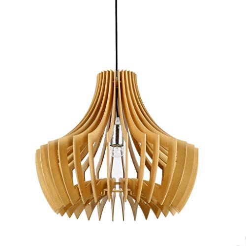 YANGQING Lámpara de luz de madera maciza, candelabro simple de madera