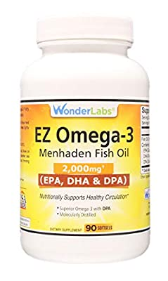 Top Rated Atlantic Menhaden Fish Oil Omega-3 2000 mg, Burpless, Made in The USA, Perfect Balance of EPA+ DHA + DPA 90 Softgels