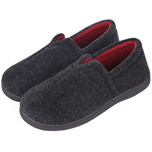 VeraCosy Damen Herren Komfort Micro Wollfilz Memory Foam Loafer Slippers rutschfeste Hausschuhe für den Innen und Außenbereich, Hellschwarz, 43 EU