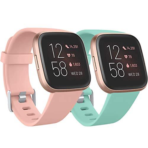 Ouwegaga Kompatibel für Fitbit Versa Armband/Fitbit Versa 2 Armband, Weiches Silikon Ersatz Armband Kompatibel mit Fitbit Versa Lite Armband, Damen Herren Groß, Pink/Türkis