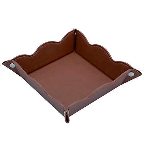 LISRSC Travel Valet Jewelry Organiser Tray for Men,Leather Portable Collapsible Wallet Phone Desk Storage Tray (Dark Brown)