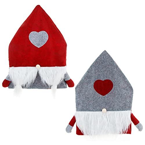 2 stk Weihnachtsstuhlbezug Weihnachten Stuhlhussen Rot-grauer Weihnachtsmann Weihnachts Stuhlbezüge Dekoration Stuhlschoner Sitzbezüge mit Herzförmig Esszimmerstuhl Rückenbezüge Protektoren für feier