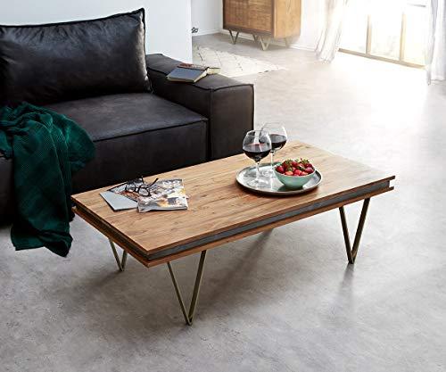DELIFE Wohnzimmertisch Stonegrace Akazie Natur 117x60 Steinfurnier Designer Couchtisch