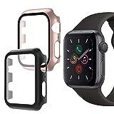 Oududianzi-Cover per Apple Watch Series 6/SE/5/4 con Protezione Schermo in Vetro Temperato, Protezione Completa a 360° Custodia Rigida per PC Ultra-Sottile per iWatch 6/SE 40mm (2pezzi,Nero+Oro Rosa)