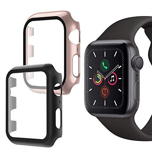 Oududianzi-Funda para Apple Watch Series 6/SE/5/4 con Protector de Pantalla Vidrio Templado,Protección Total de 360° Estuche Rígido para PC Ultrafino para iWatch 6/SE 40mm (2piezas,Negro+Oro Rosa)