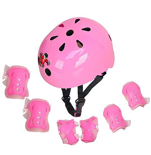 Voker Kinder Schoner Set (7er) mit Helm inliner Schützer(3-14Jahre) Fahrradhelm & Knieschoner & Ellenbogenschützer Schutzausrüstung mit CE Zertifizierung für Roller Skateboard