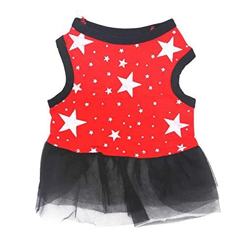 ArgoBa Moda de Verano Ropa para Perros Sin Mangas Estrellas Estampado Chaleco Falda Hilo Falda de Encaje Princesa Vestido Fiesta Disfraz Ropa