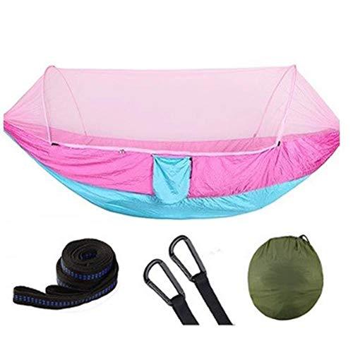 Hebon Hamaca de camping con mosquitero automático de apertura rápida Hamacas de viaje portátil hamaca de paracaídas para interior y exterior, camping, senderismo, playa
