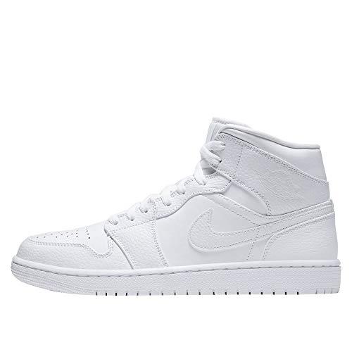 Nike Air Jordan 1 Mid, Zapatillas de básquetbol para Hombre, White White White, 44.5 EU