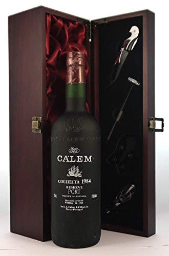 Calem Reserve Colheita Port 1984 en una caja de regalo forrada de seda con cuatro accesorios de vino, 1 x 750ml