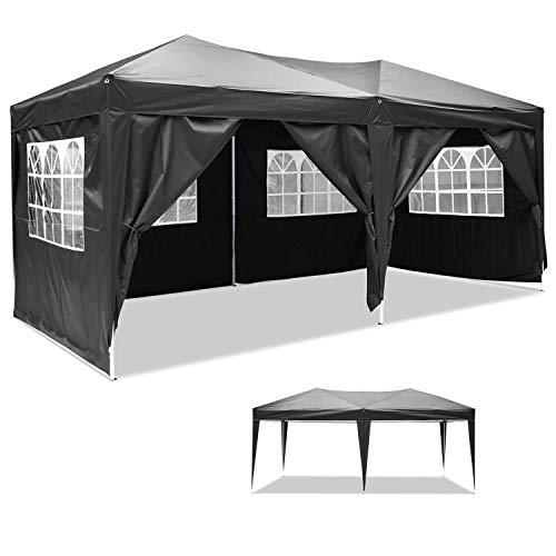 Maxx® 3x6m partytent tuin paviljoen biertent feesttent met 6 zijdelen (zwart)