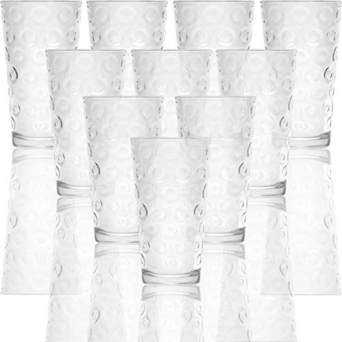 Circleware Circles Huge Set of 10 Tall Heavy Base Highball Drinking Glasses, 15.7 oz, Lead-Free Glass Tumbler Drink Cups for Water, Beer, & All Beverage
