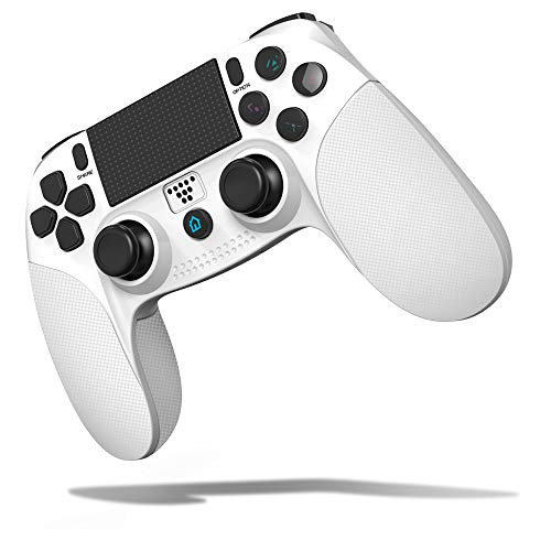SHINEZONE PS4 Controller Der vierte Generation PS4-Controller Bluetooth Wireless HD Vibration Game Pad montiert hoch haltbare Taste Kopfhöreranschluss Lautsprecher Gamepad (Weiß)