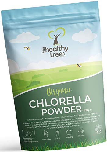 Organic Chlorella Powder by TheHealthyTree Company for Juices and Smoothies - High in B12, Protein and Iron - UK Certified Broken/Cracked Cell Wall Pure Vegan Chlorella Vulgaris (250g)