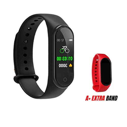 M4 Smart Fitness Tracker Pedometer - Sports Hombre Relojes Watches - Touch Screen - Activity Performance Heart Rate Monitor Display Counter - Health Calories - Ideal for Unisex | Free Extra Red Band