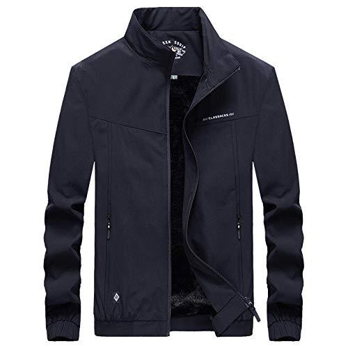 Men's Jacket Slim-Fit Casual Faux Leather Cotton Biker Coats Men's fashion casual stand-up collar-dark blue_M