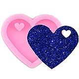 FGHHT Molde con Forma de corazón de San Valentín Brillante Llavero Amor Silicona moldes de Resina epoxi DIY artesanía LlaveroColgante Molde de Arcilla polimérica