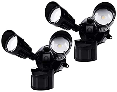 Hyperikon LED Security Light with Motion Sensor, 2 Head Dusk to Dawn, 20W, UL Listed, 2 Pack, Black