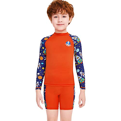 Owntop Trajes de Baño para Niños Niñas Dos Piezas Manga Larga Guardia de Erupción UV 50+ Protección Ropa de Natación, M