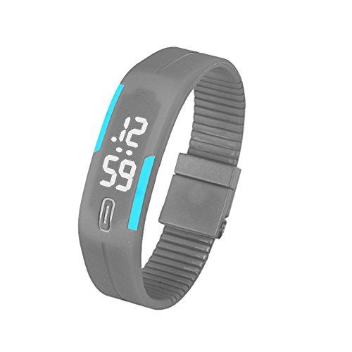 Wudube - Montre pour femme, élégante et élégante - Montre numérique à LED avec date - Étanche - Bracelet numérique - En silicone