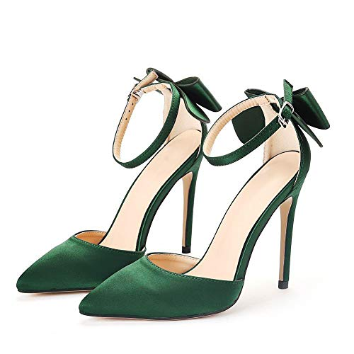 Nuomeisi Women's Court Shoes,High Heels Bridal Shoes,11cm Temperament Sexy Satin Stiletto Heel Pumps Wedding Shoes Mary Jane Pumps,Clubbing Evening Wedding Party Dress Bridesmaid Shoes,Green,40 EU