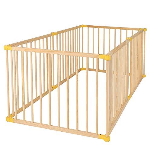 dibea DP00586 Holz Laufstall für Baby und Kleinkind, Laufgitter mit Tür, 270° klappbar und vormontiert, 6 Elemente je 90 x 68 cm