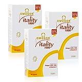 OMEGOR® Vitality 1000: Con un 90% de Omega-3 TG! 5 * IFOS certificado desde 2006. EPA 535 mg y DHA 268 mg por perla. Min. Estructura 90% de triglicéridos y destilación molecular, 180 cps (60cps x 3)