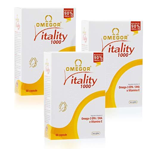Omegor Vitality 1000 - 90% de Omega-3 TG, EPA 535 mg y DHA 268 mg por Perla, Estructura 90% de Triglicéridos y Destilación Molecular, 3 x 60 Cápsulas