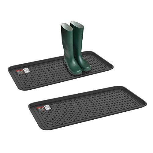 Stalwart 75-ST6102 Weather Boot Tray-Large Water Resistant Plastic Utility Shoe Mat for Indoor and Outdoor Use in All Seasons (Set of Two, Black), Single Pack