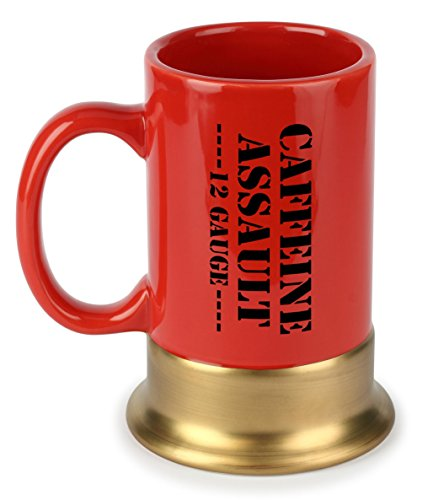 Caliber Gourmet Caffeine Assault Mug, 12 Gauge, Red