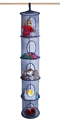 5 Tier Storage Organizer - 12' X 59' - Hang in Your Children's Room or Closet for a Fun Way to Organize Kids Toys or Store Gloves, Shawls, Hats and Mittens. Attaches Easily to Any Rod. (Navy Blue)