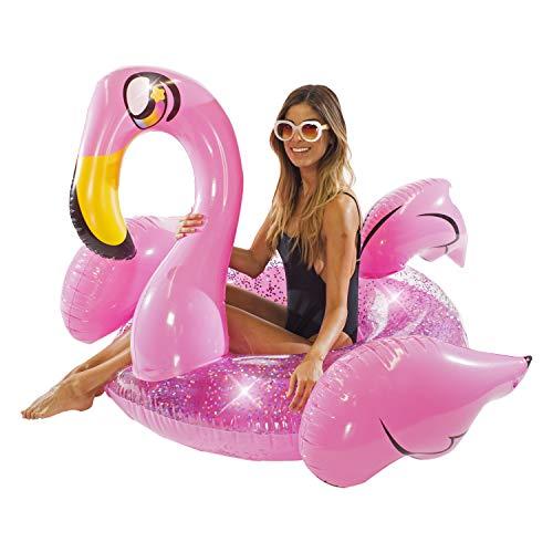 Poolcandy Inflatable Glitter Animal Collection Flamingo Jumbo Pool Float Swim Ring - Summer Pool Raft Lounge for Adults & Kids
