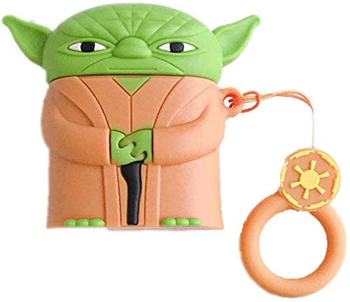 Star Wars Airpods Case Baby Yoda PVC Silicone Shockproof Bluetooth Earphone Protective Cover 3D Unique Design Skin Kits with Carabiner Holder for Apple Airpods 2 & 1,