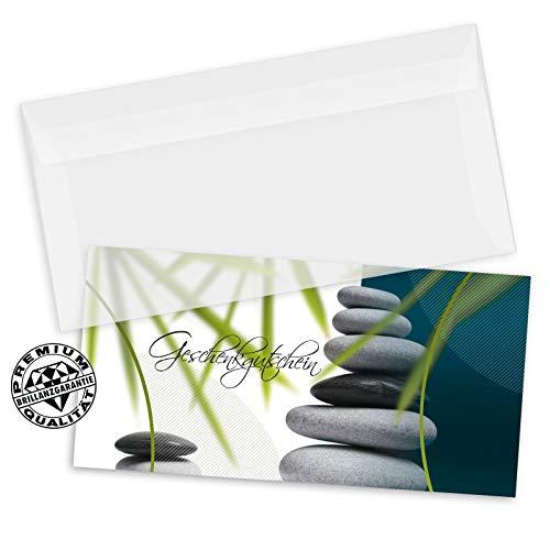 50 hochwertige Gutscheinkarten DIN-lang + 50 Kuverts. Gutscheine für Naturheilkunde Massageinstitut Kosmetikstudio. Vorderseite hochglänzend. MA9251