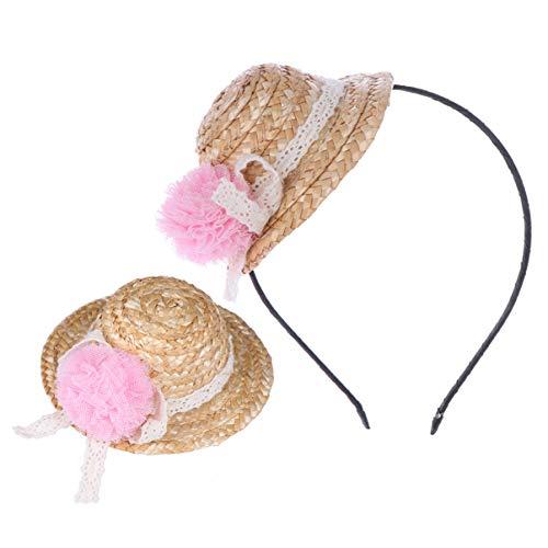 Lurrose Strohoed hoofdband haarspeld set kinderen cosplay haarband voor meisjes kinderen studenten gastgeschenken 2 stuks