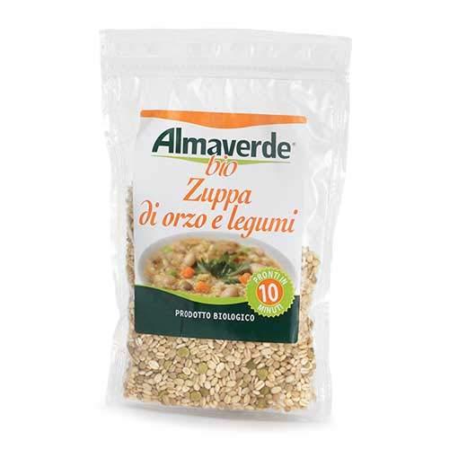 Almaverde Bio Zuppa di Orzo e Legumi Biologica. Pronta in 10 Minuti. 3 Sacchetti richiudibili da 250 gr.