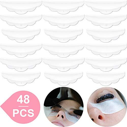 48 Piece Silicone Eyelash Perming Curler (S, M, L), Eyelash Perm Silicone Pad, Lash Lift Rods Makeup Beauty Tool