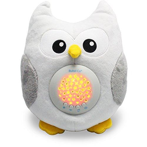 Bubzi Co Búho quitamiedos Relajante y Luz de Noche y Emisor de Sonido Relajante - Peluche bebé con Ruido Blanco y Proyector de Estrellas LED y 10 Canciones de Cuna bebé