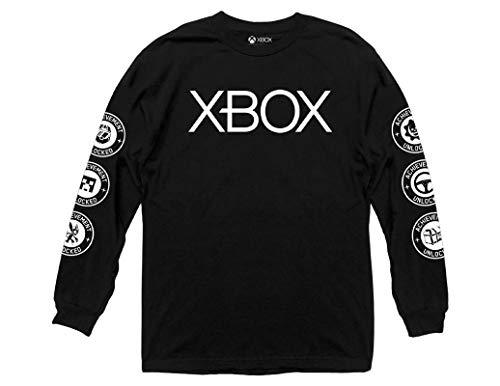 Ripple Junction - Camiseta de Manga Larga para Adulto (100% algodón), diseño de Logotipo de Xbox - Negro - X-Large