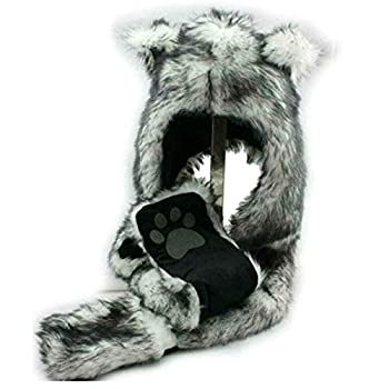 White Wolf Animal Hoods Hat Mittens Gloves Scarf Paws Prints and Ears Furry Hoodie