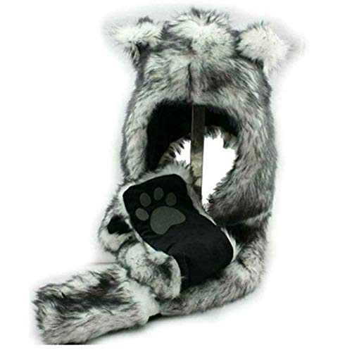 Wolf Animal Hoodie, Mittens, Gloves, Scarf Paws and Ears
