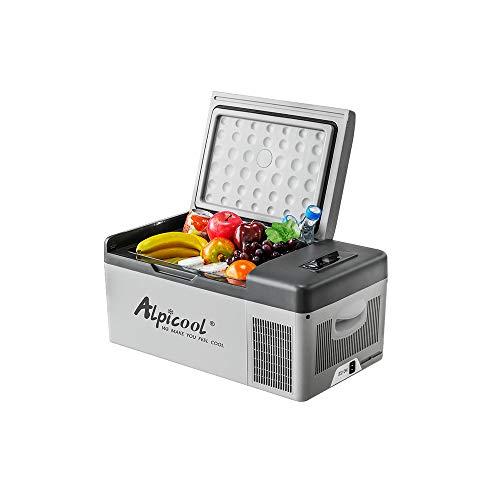 RISHENG 15L 12V / 24V-110V C15 Control de APLICACIÓN Portátil Mini Refrigerador del Coche Congelador Pantalla Digital Mini Refrigerador del Coche Refrigerador