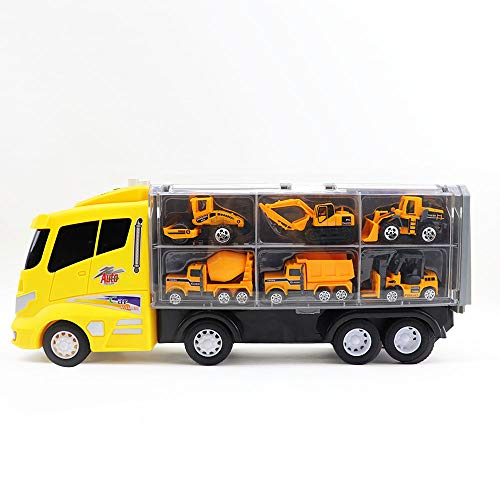 13 Pcs Toy Car Construction Site Toys Set Tractor Dump Truck Excavator Mixer Vehicles Trucks Playset Diecast Equipment Engineering Caterpillar Playset Carrier Sets Gifts for Boys Kids Toddlers